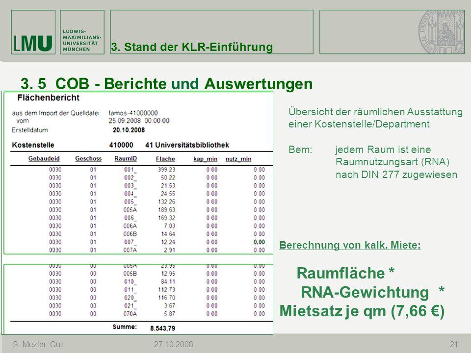 3. 5 COB - Berichte und Auswertungen