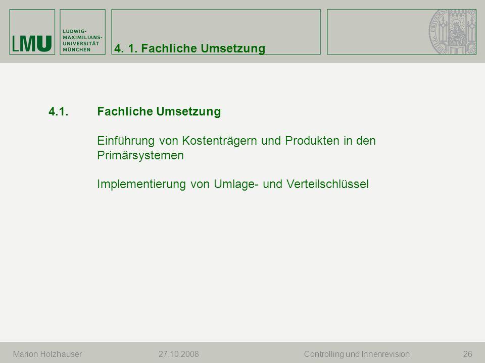 Einführung von Kostenträgern und Produkten in den Primärsystemen