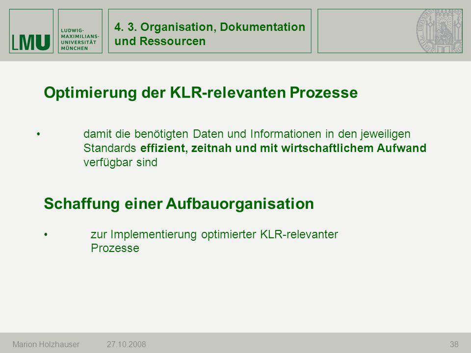 Optimierung der KLR-relevanten Prozesse