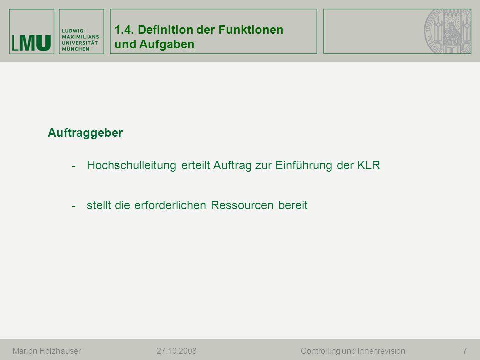 1.4. Definition der Funktionen und Aufgaben