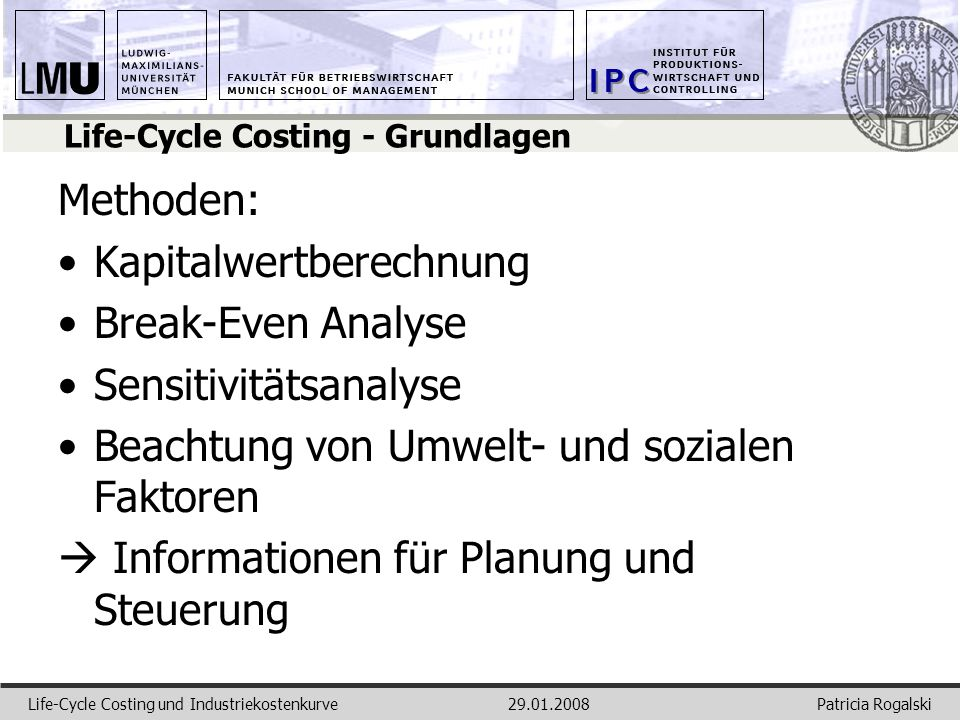 Life-Cycle Costing - Grundlagen