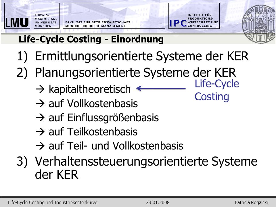 Life-Cycle Costing - Einordnung