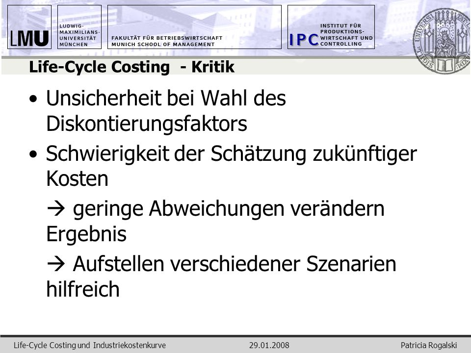 Life-Cycle Costing - Kritik