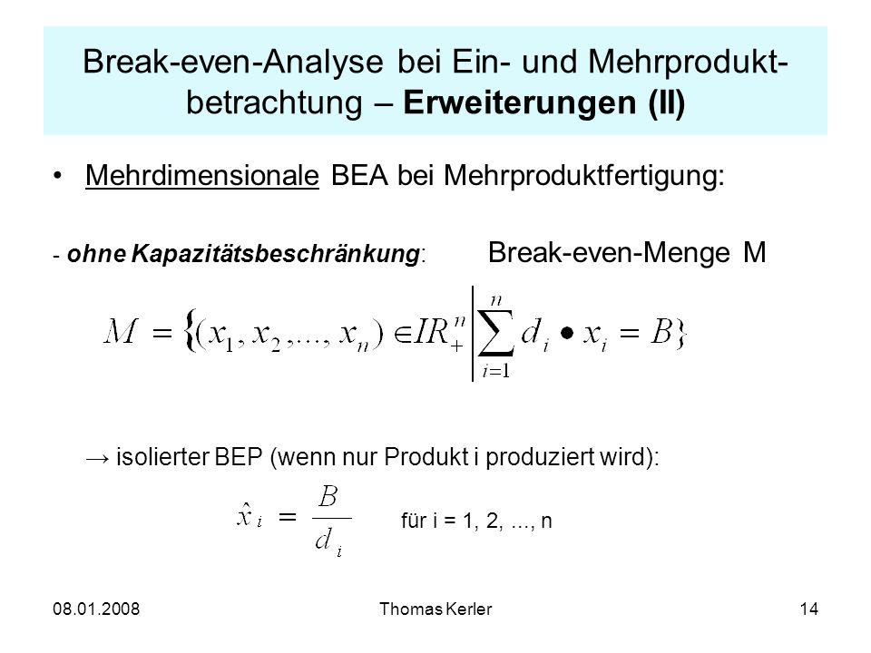 Break-even-Analyse bei Ein- und Mehrprodukt-betrachtung – Erweiterungen (II)