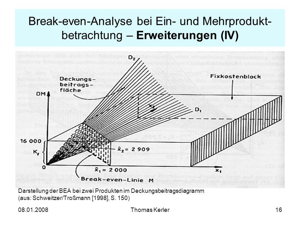 Break-even-Analyse bei Ein- und Mehrprodukt-betrachtung – Erweiterungen (IV)