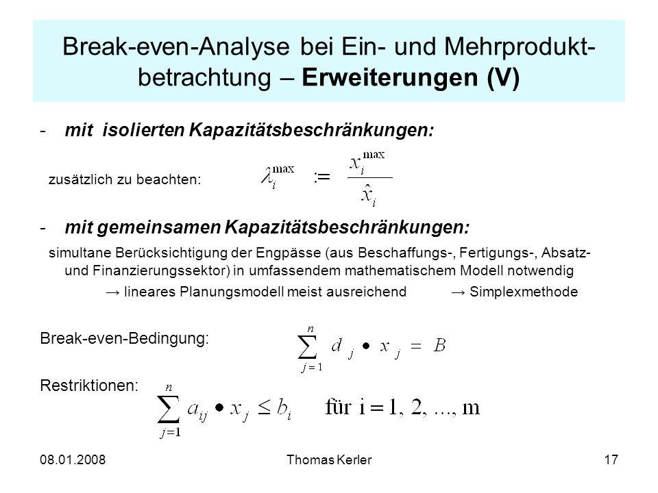 Break-even-Analyse bei Ein- und Mehrprodukt-betrachtung – Erweiterungen (V)