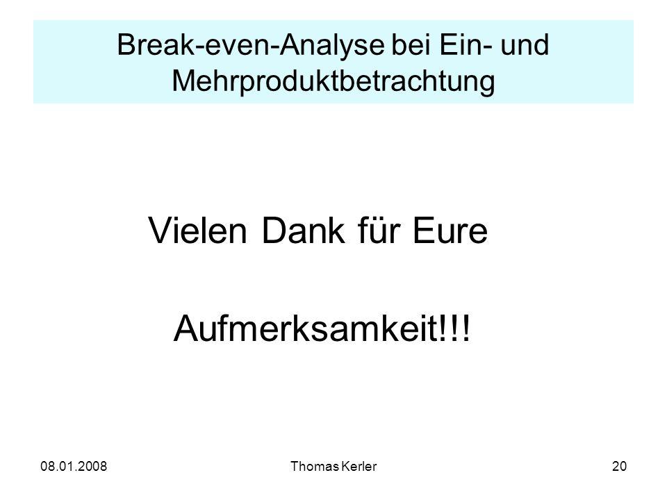 Break-even-Analyse bei Ein- und Mehrproduktbetrachtung