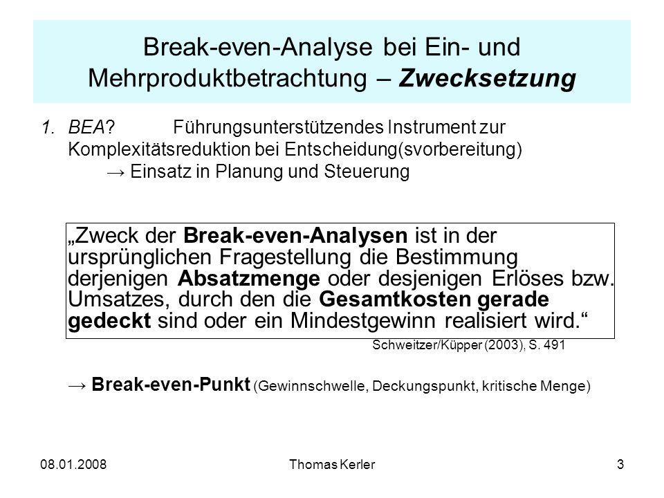 Break-even-Analyse bei Ein- und Mehrproduktbetrachtung – Zwecksetzung