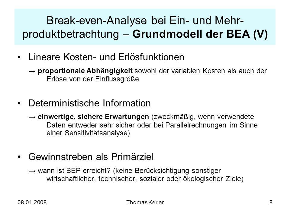 Break-even-Analyse bei Ein- und Mehr-produktbetrachtung – Grundmodell der BEA (V)