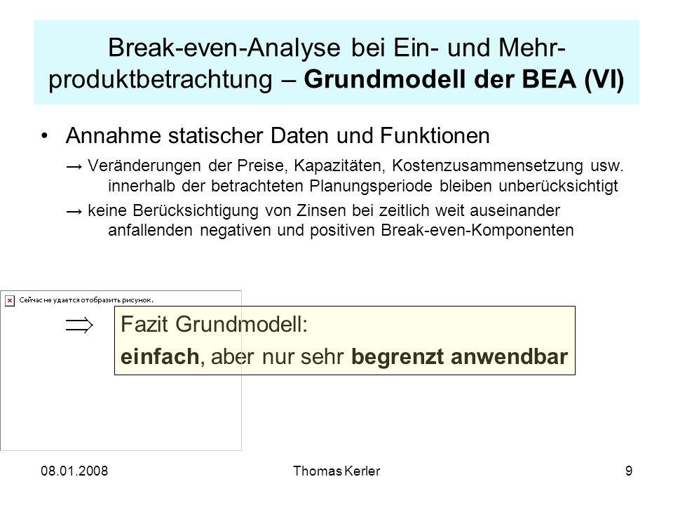 Break-even-Analyse bei Ein- und Mehr-produktbetrachtung – Grundmodell der BEA (VI)
