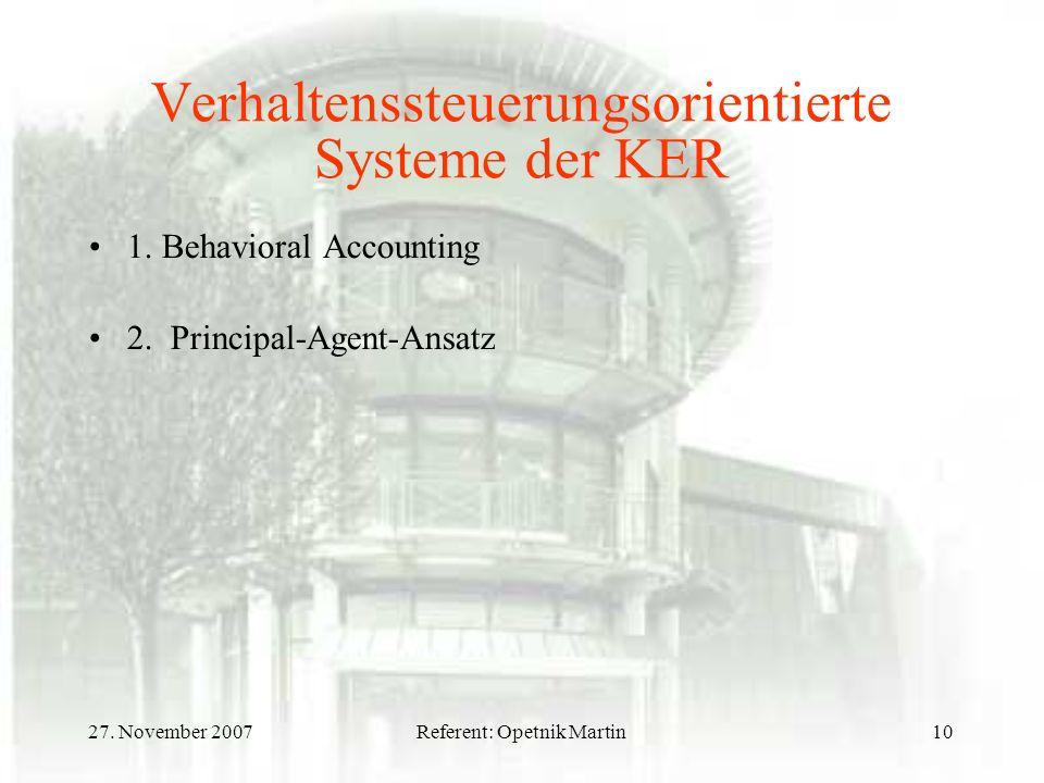Verhaltenssteuerungsorientierte Systeme der KER