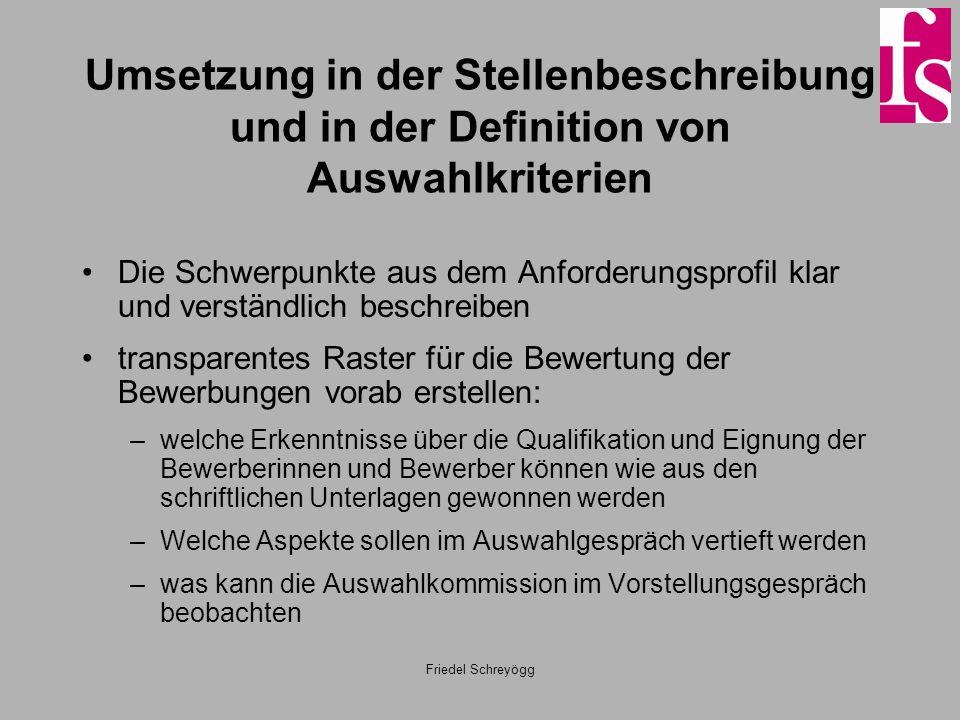 Umsetzung in der Stellenbeschreibung und in der Definition von Auswahlkriterien