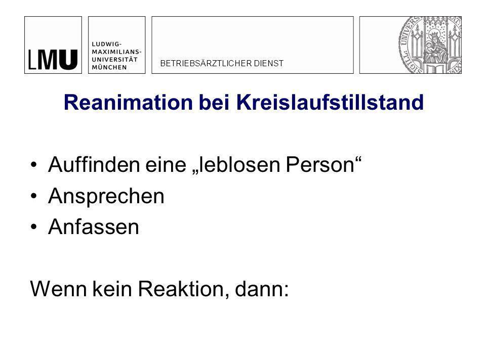 Reanimation bei Kreislaufstillstand