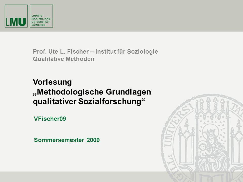 """""""Methodologische Grundlagen qualitativer Sozialforschung"""