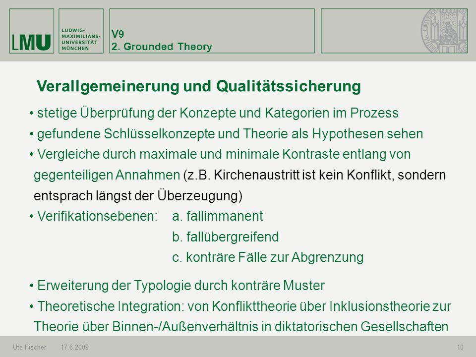 Verallgemeinerung und Qualitätssicherung