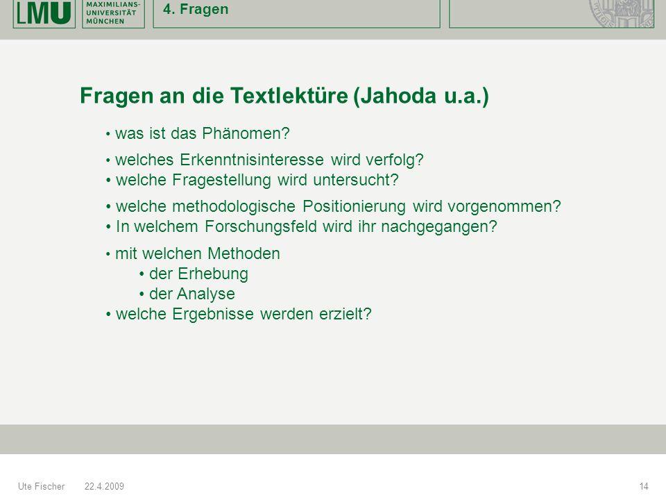 Fragen an die Textlektüre (Jahoda u.a.)
