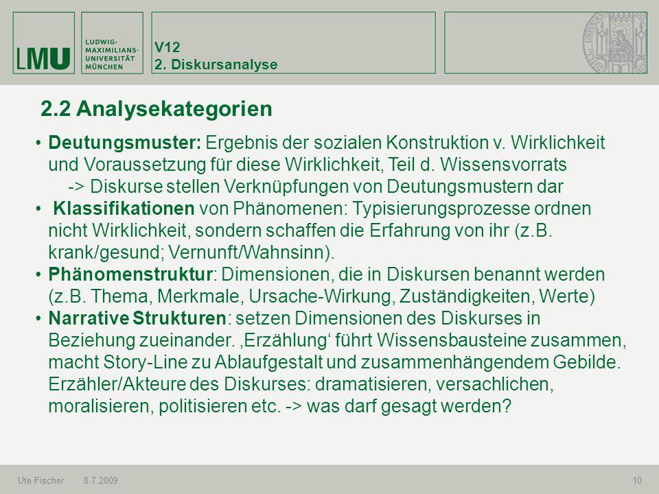 V12 2. Diskursanalyse. 2.2 Analysekategorien.