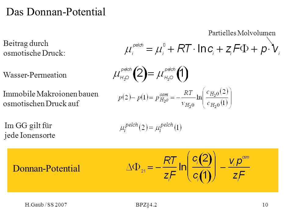 Das Donnan-Potential Donnan-Potential Beitrag durch osmotische Druck: