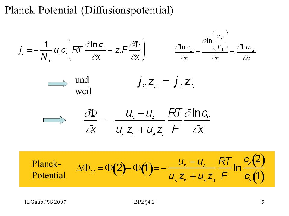 Planck Potential (Diffusionspotential)
