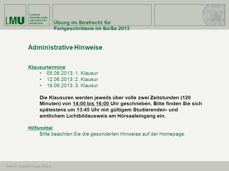 Administrative Hinweise
