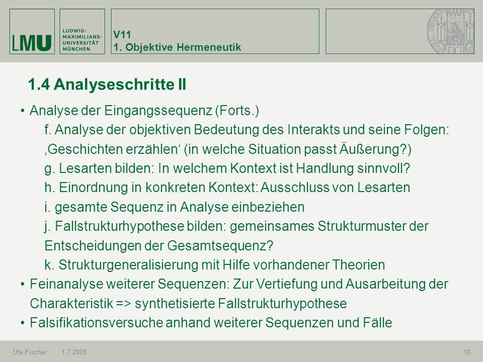 1.4 Analyseschritte II Analyse der Eingangssequenz (Forts.)