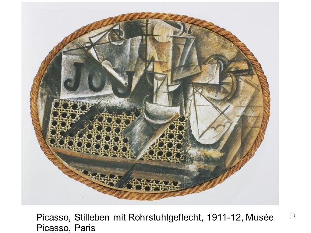 Picasso, Stilleben mit Rohrstuhlgeflecht, 1911-12, Musée Picasso, Paris