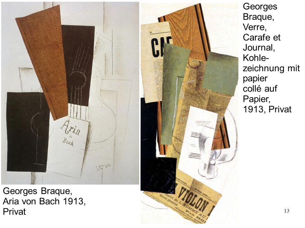 Georges Braque, Verre, Carafe et. Journal, Kohle- zeichnung mit. papier. collé auf. Papier,