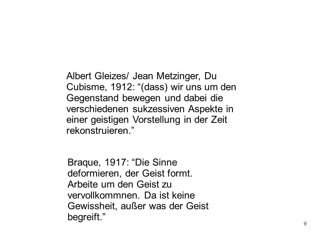 Albert Gleizes/ Jean Metzinger, Du Cubisme, 1912: (dass) wir uns um den Gegenstand bewegen und dabei die verschiedenen sukzessiven Aspekte in einer geistigen Vorstellung in der Zeit rekonstruieren.