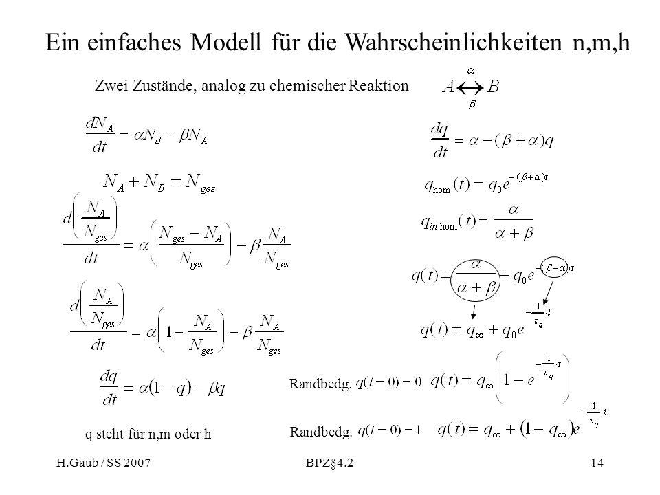 Ein einfaches Modell für die Wahrscheinlichkeiten n,m,h
