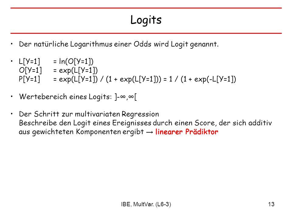 Logits Der natürliche Logarithmus einer Odds wird Logit genannt.