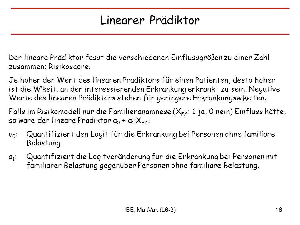 Linearer Prädiktor Der lineare Prädiktor fasst die verschiedenen Einflussgrößen zu einer Zahl zusammen: Risikoscore.