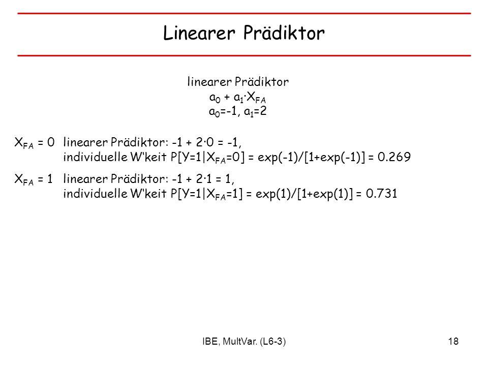 linearer Prädiktor a0 + a1∙XFA a0=-1, a1=2