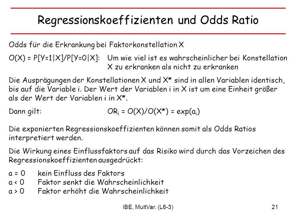 Regressionskoeffizienten und Odds Ratio