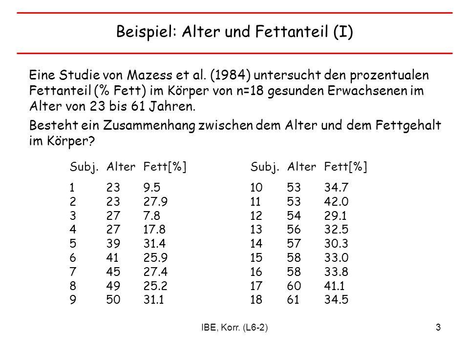 Beispiel: Alter und Fettanteil (I)