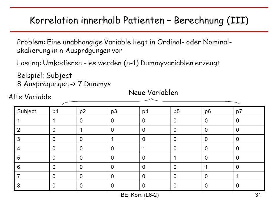 Korrelation innerhalb Patienten – Berechnung (III)