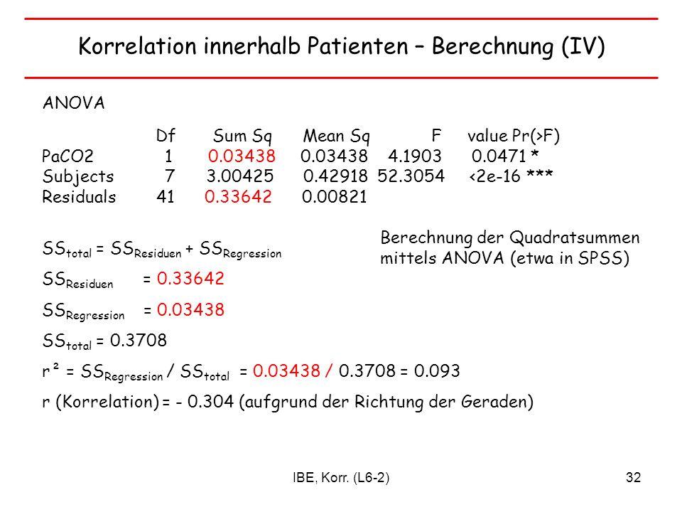 Korrelation innerhalb Patienten – Berechnung (IV)