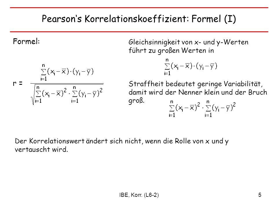 Pearson's Korrelationskoeffizient: Formel (I)