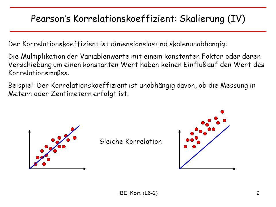 Pearson's Korrelationskoeffizient: Skalierung (IV)