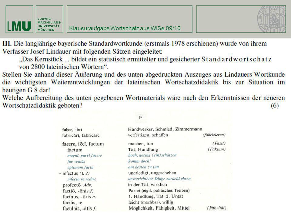 Klausuraufgabe Wortschatz aus WiSe 09/10