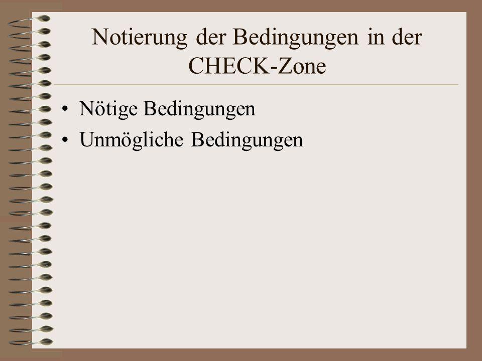 Notierung der Bedingungen in der CHECK-Zone