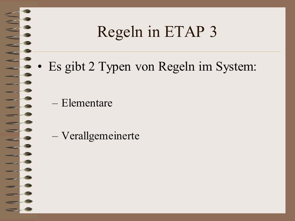 Regeln in ETAP 3 Es gibt 2 Typen von Regeln im System: Elementare