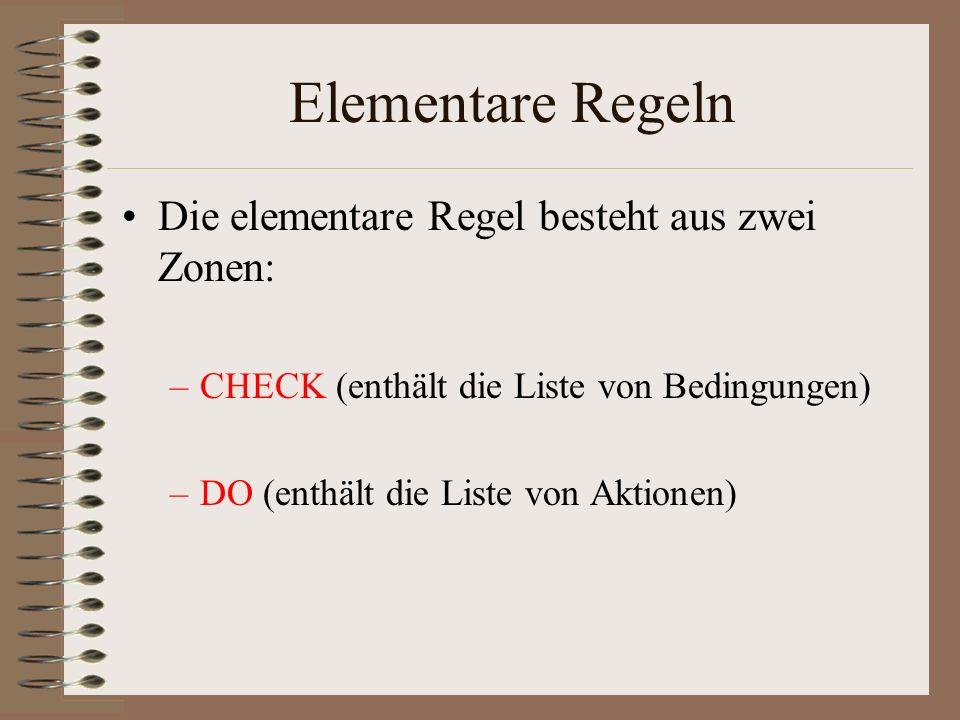 Elementare Regeln Die elementare Regel besteht aus zwei Zonen: