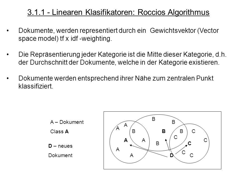 3.1.1 - Linearen Klasifikatoren: Roccios Algorithmus