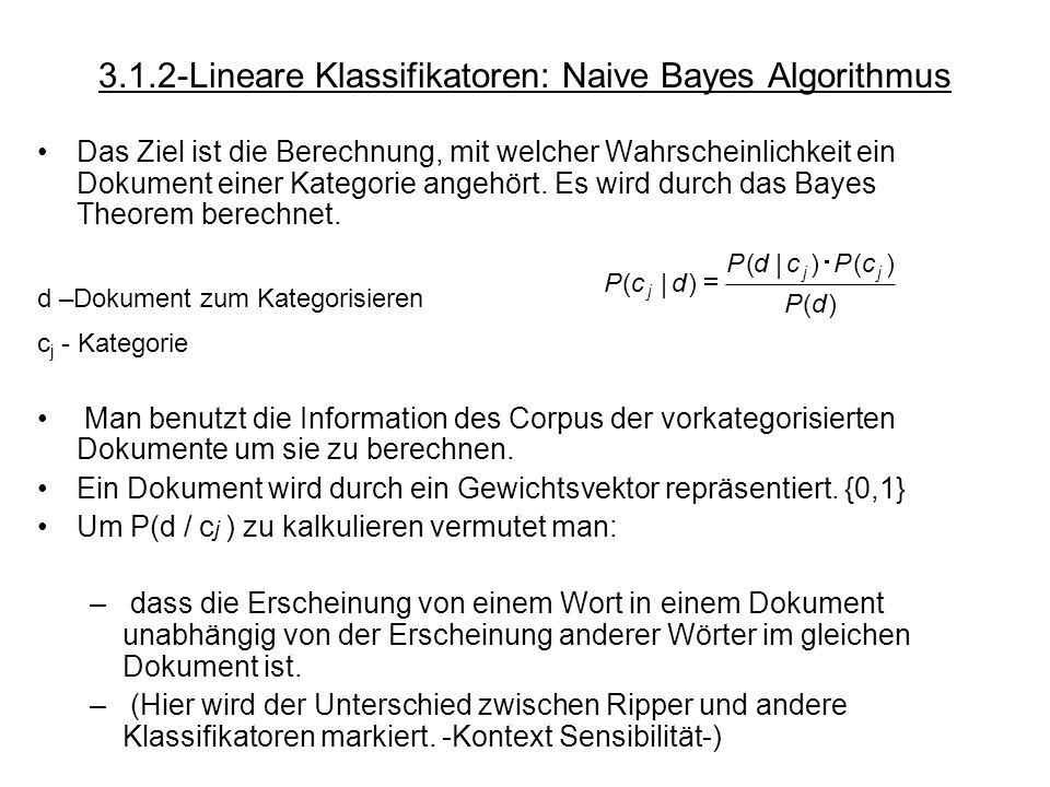 3.1.2-Lineare Klassifikatoren: Naive Bayes Algorithmus