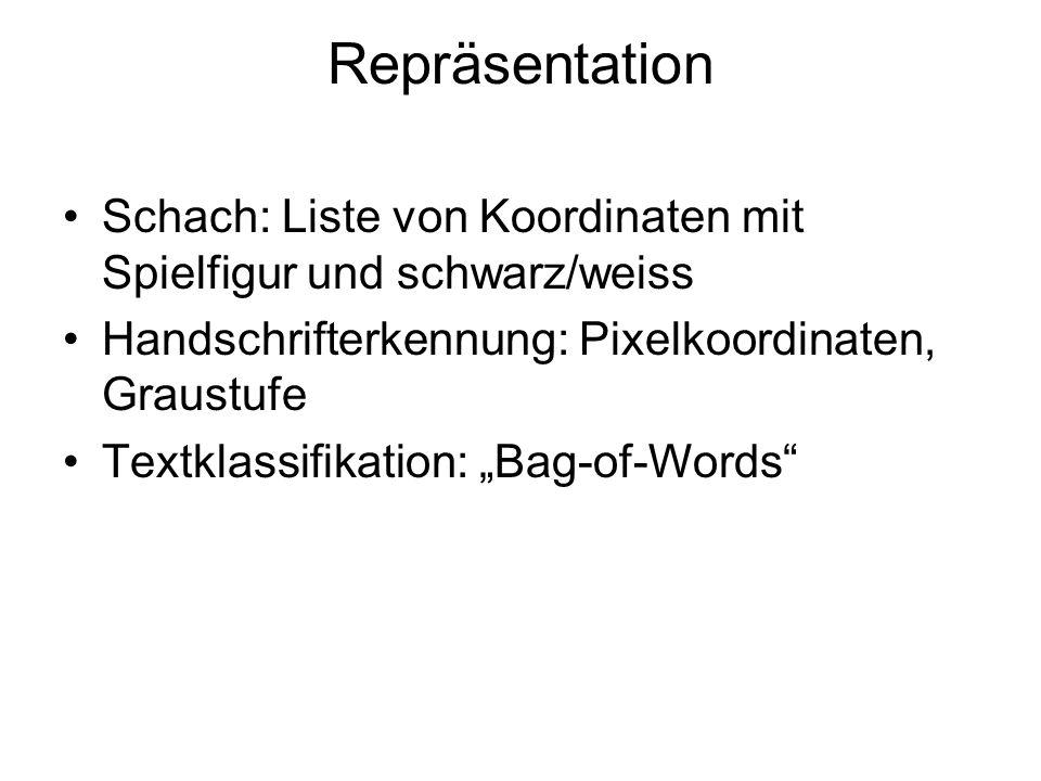 Repräsentation Schach: Liste von Koordinaten mit Spielfigur und schwarz/weiss. Handschrifterkennung: Pixelkoordinaten, Graustufe.