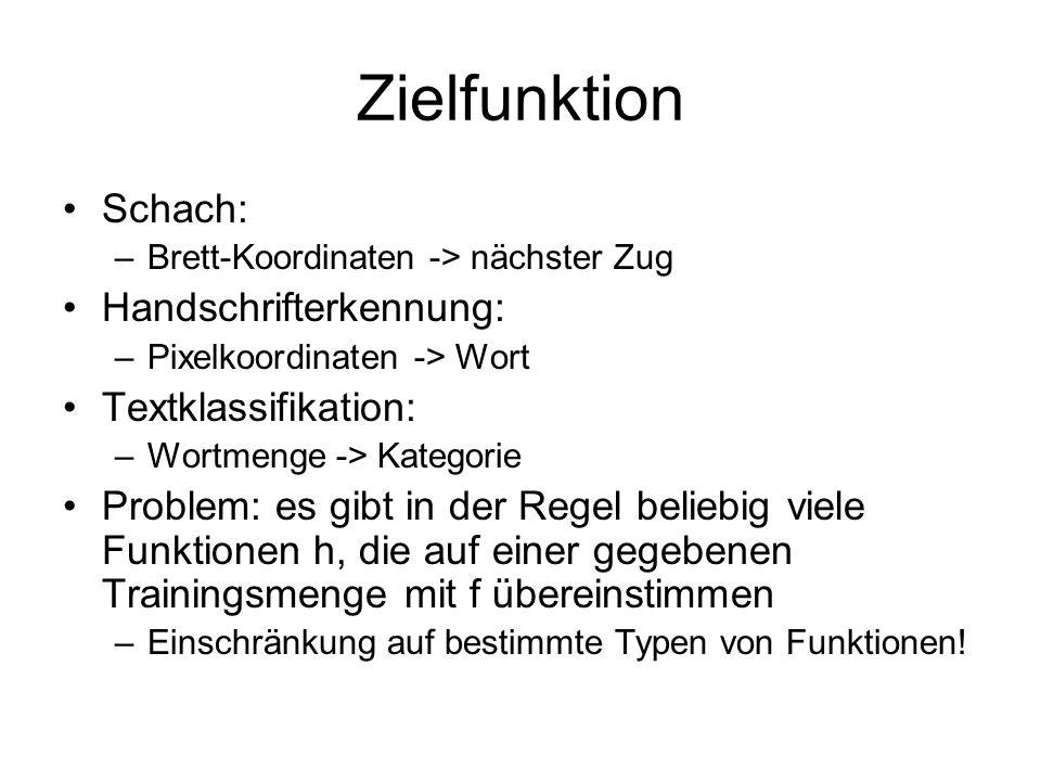 Zielfunktion Schach: Handschrifterkennung: Textklassifikation: