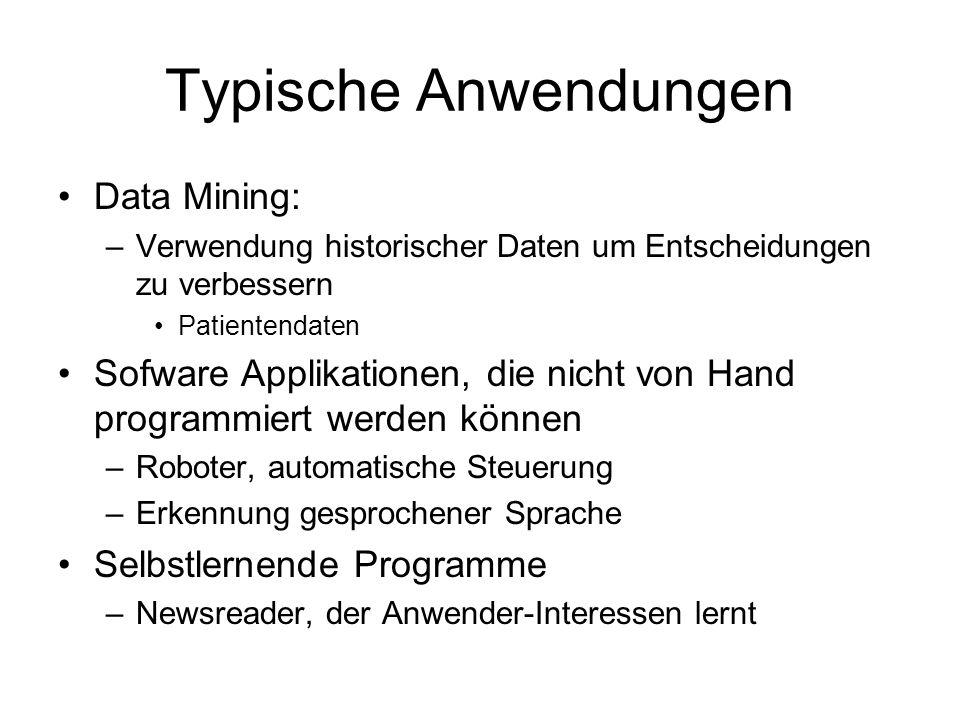 Typische Anwendungen Data Mining:
