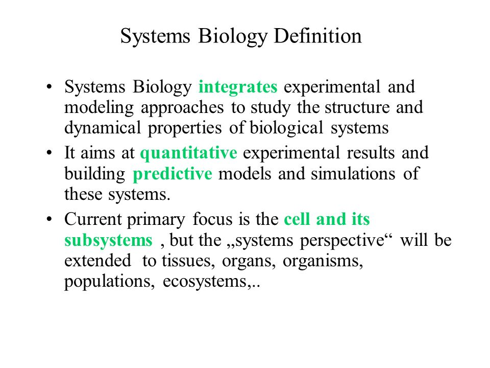 Systems Biology Definition