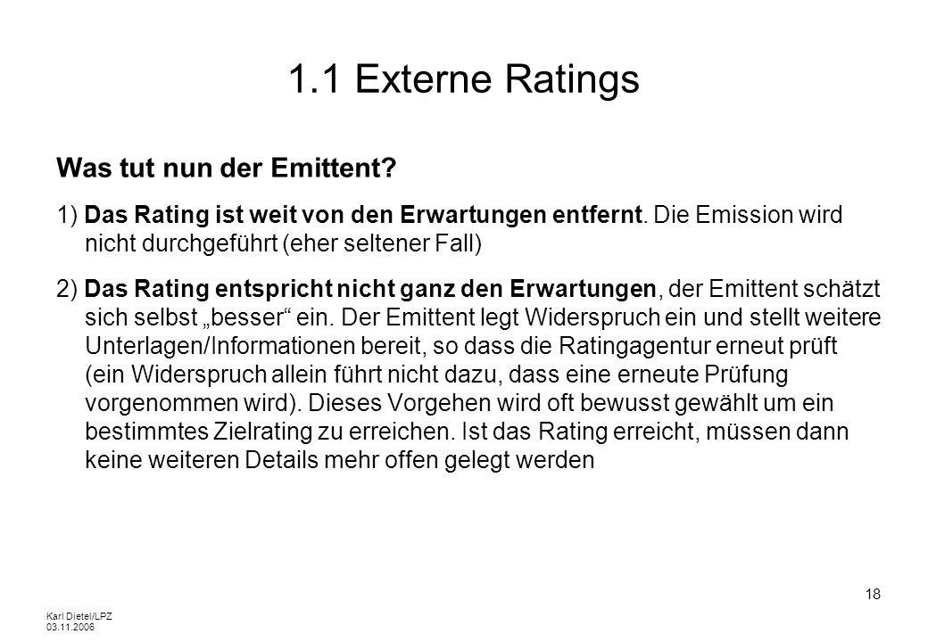 1.1 Externe Ratings Was tut nun der Emittent