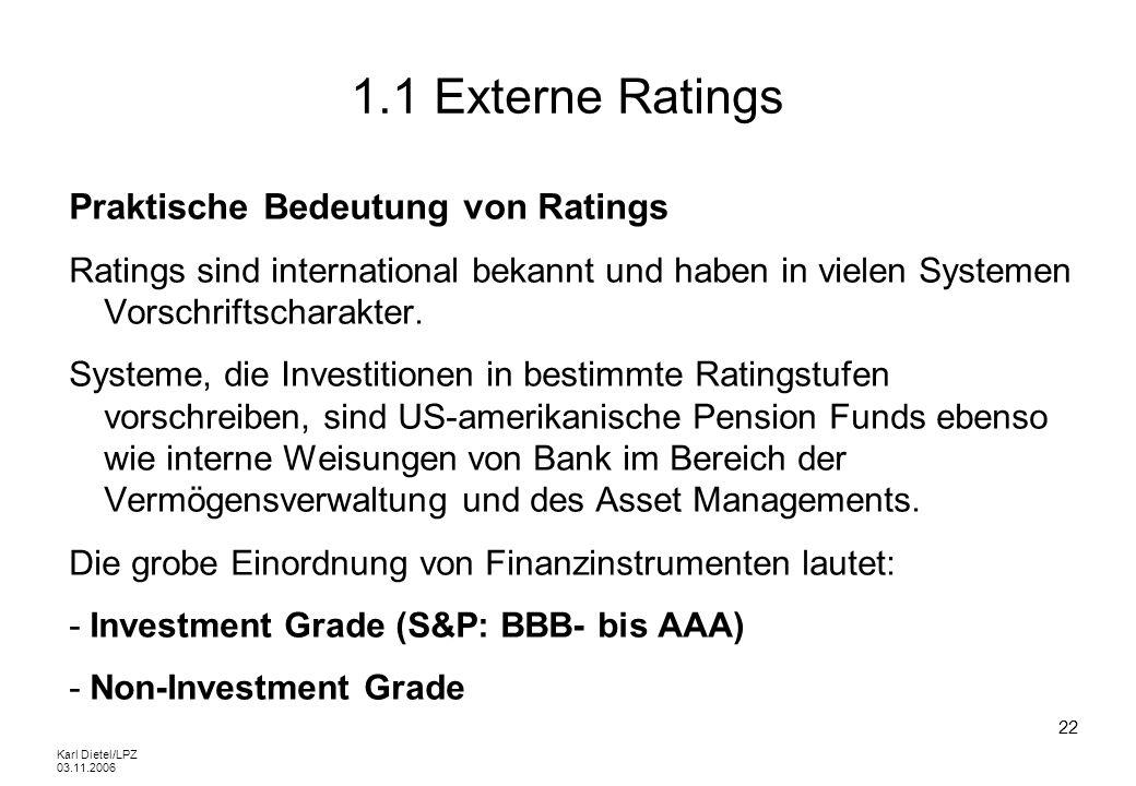 1.1 Externe Ratings Praktische Bedeutung von Ratings